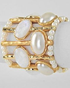 Gold Tone Cream Acrylic & Synthetic Mabe Pearl Wide Stretch Bracelet Free Shipping