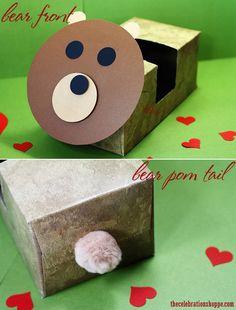 Quick Bear Valentine Card Box {easy tutorial} | TheCelebrationShoppe.com