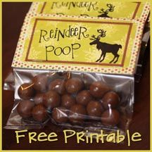 Reindeer Poop Printable Tags - Perfect for kiddos friends and classmate gifts!