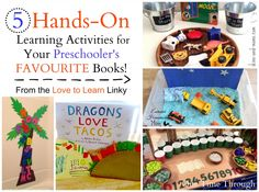 5 Hands-On Learning Activities that go with popular kids' books!  from the Love to Learn Linky!  Plus 10 tips for choosing great kids' books {One Time Through} #teachingreading