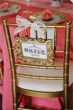 gold chair for your wedding + free printable bride sign