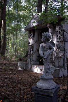 Decorate the shed to look like a mausoleum with tombstones around it