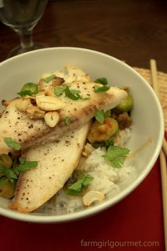 Thai Tilapia with Brussels Sprouts & Spicy Cashews