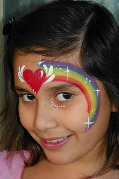 rainbow and love heart face paint design