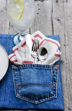 DIY Upcycled Denim Placemats. Cute idea!