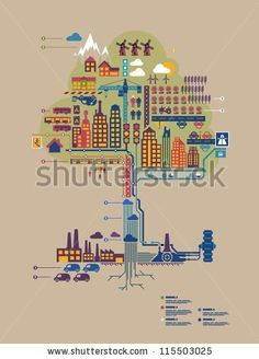 colorful vector city in form of a tree, city info graphic, by filip robert, via ShutterStock