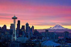 Beautiful shot of Seattle & Mt Rainier.