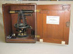 Vintage Warren Knight Surveyor's Transit in a Brandis & Sons Box & Plumb Bob