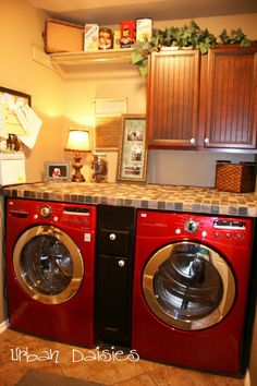 Add a counter over washer and dryer and drawers in between! Love this washer and dryer