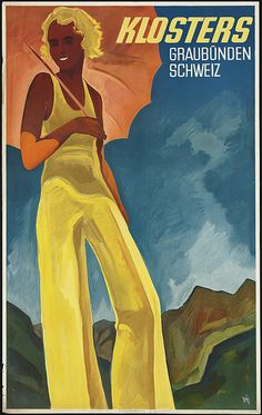 this is a vintage tourism advertising for Klosters in Switzerland