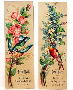 Victorian Easter bookmarks ~ featuring flowers and birds