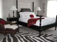 this website really does have beautiful bedrooms Love the red on the bed