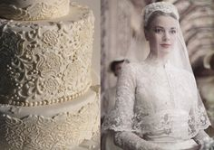 Lace cake inspired by Grace Kelly's wedding dress.
