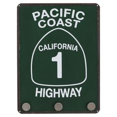 """Pacific Coast Highway"" Distressed Metal Street Sign  (has 3 hooks on the bottom for hanging things)"