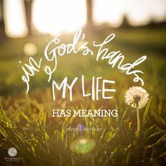 """""""In God's hands my life has meaning."""" - Glynnis Whitwer   """
