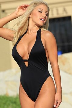 Sexy low cut one piece swimsuit, black halter one piece