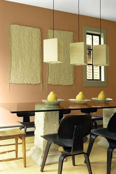 A sweet shade on the walls softens up the rough-textured and rigid-shaped decor. | Brown Sugar (10-22), @prattandlambert