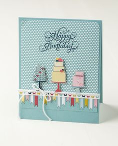 We love the birthday cakes cut out of the Patio Party Designer Series Paper!