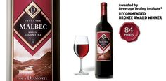 """Toca Diamonte Malbec - awarded """"Recommended Bronze Award"""" by the Beverage Testing Institute."""