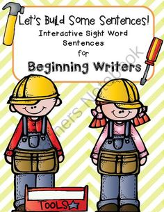 Lets Build Some Sentences: Interactive Sentences for Beginning Writers from TheKinderLife on TeachersNotebook.com -  (23 pages)  - This simple pack helps students focus on word order in sentences. Perfect for beginning writers!