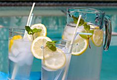 Sassy Water for a flat tummy!    2 liters water (about 8 ½ cups)  1 teaspoon freshly grated ginger  1 medium cucumber, peeled and thinly sliced  1 medium lemon, thinly sliced  12 small spearmint leaves.    Combine all ingredients in a large pitcher and let flavors blend overnight.    Drink the entire pitcher by the end of each day.