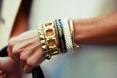 I love the stacked bracelet look