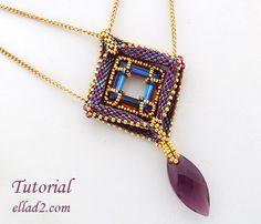 Tutorial Franzia Pendant Beading Pattern PDF Jewelry by Ellad2