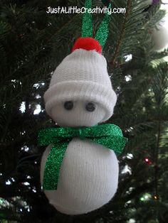 Baby Sock Snowman Ornament {Tutorial}by Just A Little Creativity