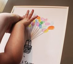 Hot Air Balloon Thumbprint Guest Book alternative- sign the book with your THUMB PRINT how cool! Starting at $35 with different styles, sizes, and personalized with your name and date.  Great for weddings, showers, birthdays or graduations... awesome! tradingvows.com