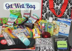 When you are stuck in a hospital room little things can mean a lot.    Or perhaps someone is under the weather and not quite mobile enough to get the little things needed for comfort.  A Get Well Bag takes care of  those problems!
