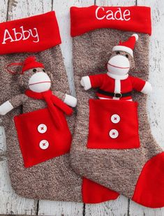 Sock Monkey stockings - personalized with your name on it! So fun.