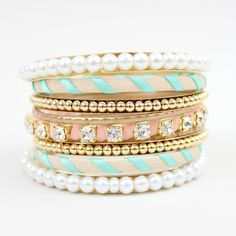 gold/mint/pink/pearls/perf