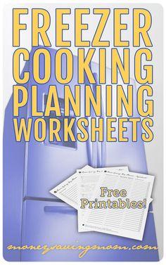 Freezer Cooking Planning Worksheets