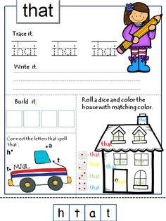 Tons of sight words practice to keep the kids busy.  *Trace, Write and Build *I can search.  *I can find. *I can see.  *Roll a dice and color.  *Spin and write.  *Spin and color.  *Find and count.  *Find and color.  *Match the boots and umbrella.  *Circle the words.  *Match the scarf and hat.  *Find the way out of the maze.  *Dot to dot. * Sight word pyramid.