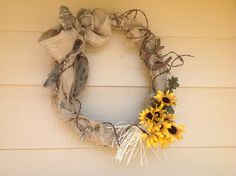 Burlap and barbed wire wreath
