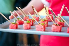 Watermelon cubes with jalapeno and chili salt for summer bbq