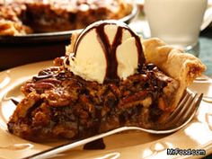 Chocolate Pecan Pie - Chocolate and pecan pie come together to create this ultimate dessert. chocolate chips, pumpkin spice latte, chocolate desserts, chocolates, food, vanilla extract, hot fudge, chocol pecan, pecan pies