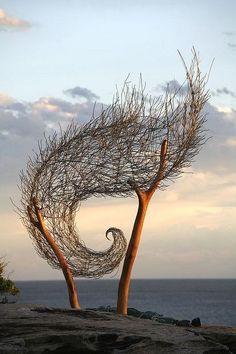 . outdoor art, the wave, tree, environmental art, spiral, sculptur, garden, branches, land art