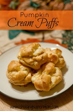 Pumpkin Cream Puffs from www.chasingsupermom.com #pumpkin