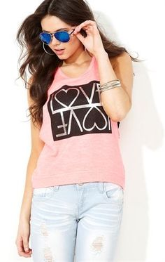 Deb Shops Deep Armhole French Terry Tank and Mirrored Love Screen $14.17