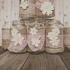 Pink lace and burlap wedding centerpieces. by StyleJarsandCans, $78.00