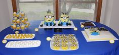 Despicable Movie Night: minion-dessert-table- minions, desserts, dessert tables, minion dessert, minion parti, baking, minion party, movie nights, parti idea
