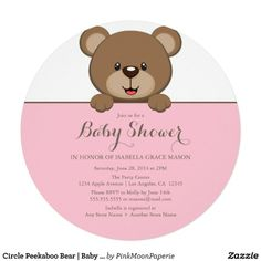 Circle Peekaboo Bear | Baby Shower Invite