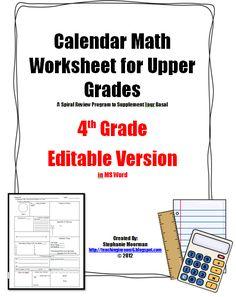 4th/5th grade calendar math