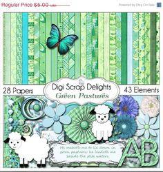 40 Off SALE Green Pastures Digital Scrapbook by DigiScrapDelights,