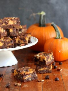 Pumpkin Swirl Cream Cheese Brownies with Pecans, a decadent Fall dessert! completelydelicious.com