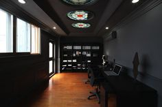 The cool stained glass windows give color to this chic dark office in Shanghai. Brought to you by Shoplet.com- everything for your business. interior, coordin asia, office designs, design offic, offices, offic space, offic decor, office workspace, design shanghai