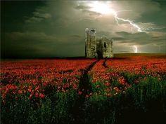 bluepueblo:Castle Lightning, Wales photo via kilo