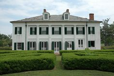 The Evergreen Plantation House was built circa 1790  remodeled to the Classical Revival style that can be seen today in 1830. Evergreen is one of the most complete plantation complexes surviving today with almost all of the original buildings intact including the 22 original slave quarters. Evergreen has two magnificent allies of Live Oaks.Evergreen is privately owned  is still a working sugar plantation