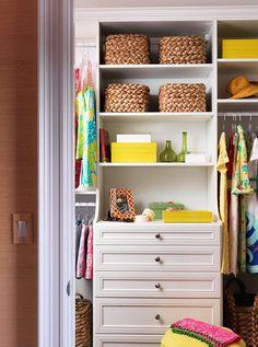 Neatly organized closet.